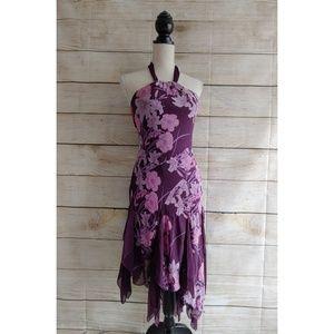 Bebe Purple Floral Asymmetrical Halter Dress